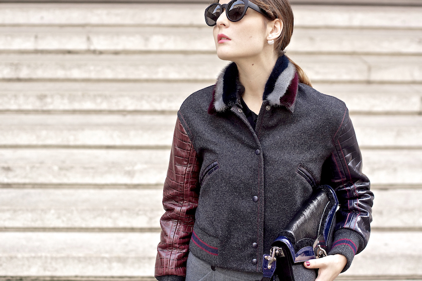 bomber jacket Fay bicolor sleeves