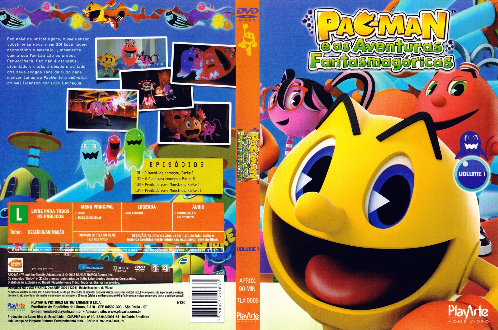 Capa DVD Pac-Man E As Aventuras Fantasmagóricas Volume 1