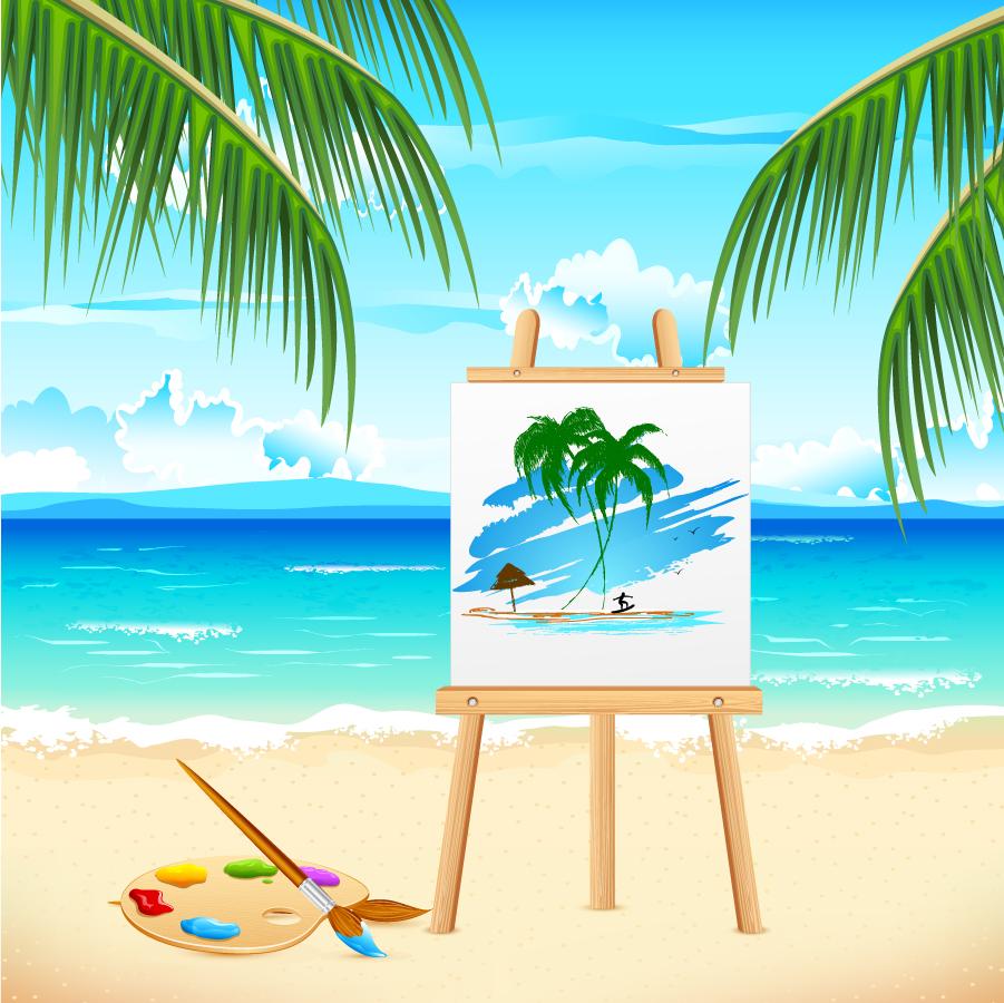 イーゼルに描いた海辺の景色 drawing sea waves on easel イラスト素材