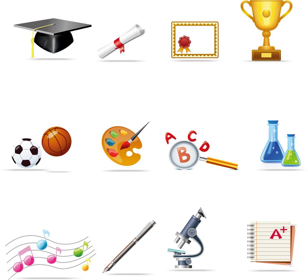 学校関連のアイコン セット School relate icons set イラスト素材