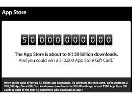 Download the 50 billion app of Apple's App Store and you can earn $ 10,000 gift card