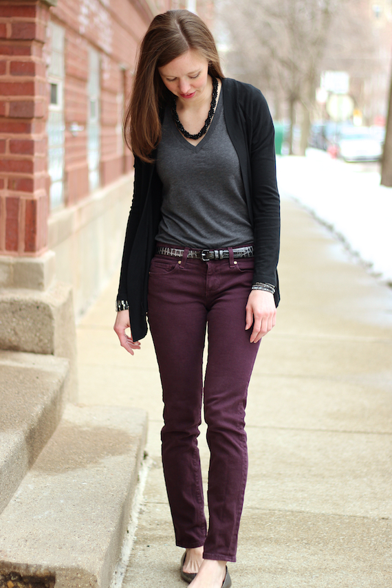 Plum Colored Jeans with Charcoal & Black | StyleSidebar