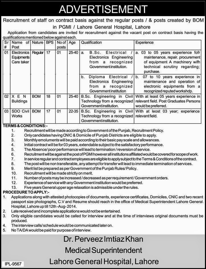 Officer Jobs in General Hospital, Lahore