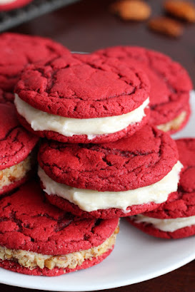 Red Velvet Sandwich Cookies {From Scratch}