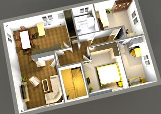 bau links grundriss 3d plan ohne tunnelkamin. Black Bedroom Furniture Sets. Home Design Ideas