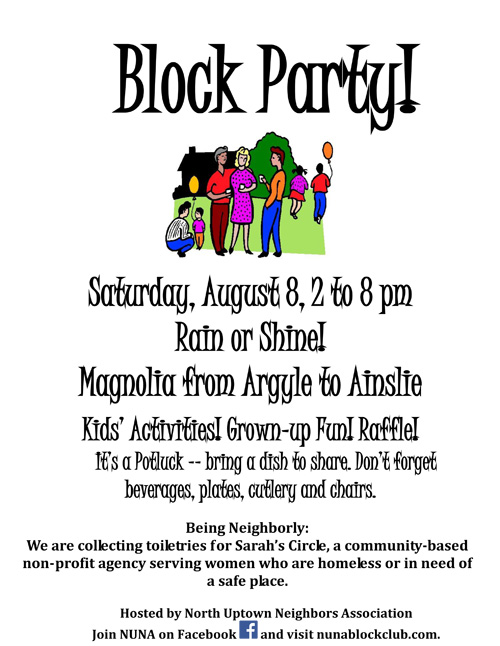 Uptown update nuna block club block party coming up for Block party template flyers free