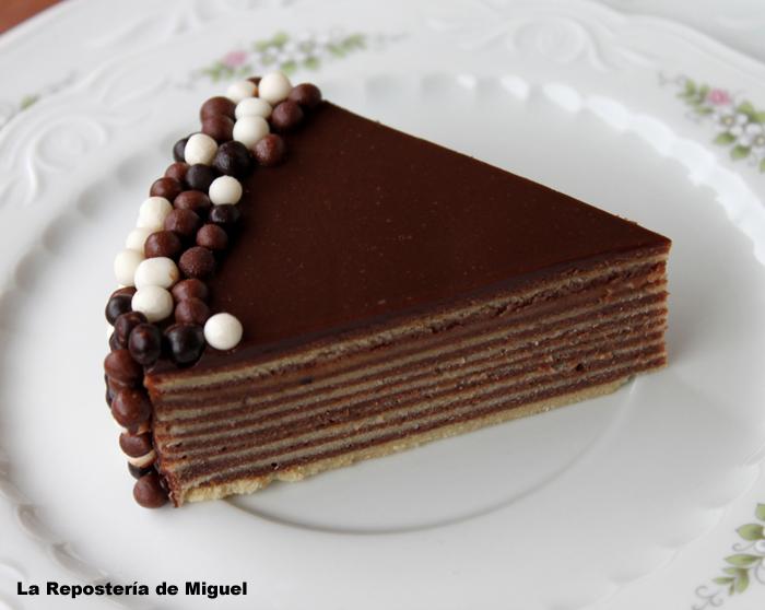 Foto frontal tomada desde muy cerca, para así poder ver bien las diferentes capas del pastel,el pastel se ve de lado sobre el plato blanco con flores.