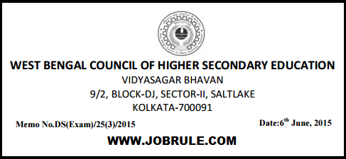 WBCHSE Higher Secondary-HS Examination 2016 and Class XI (Eleven) School Level Board Examination Routine/Programme Chart