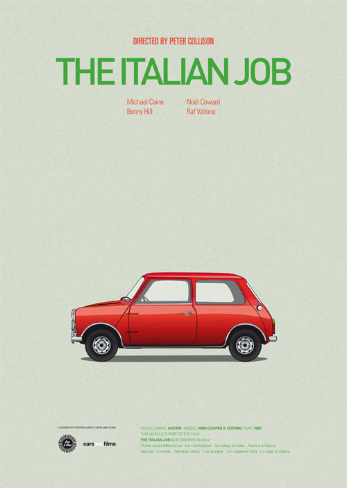 Carros famosos do cinema em posters minimalistas - Jesús Prudencio - The Italian Job