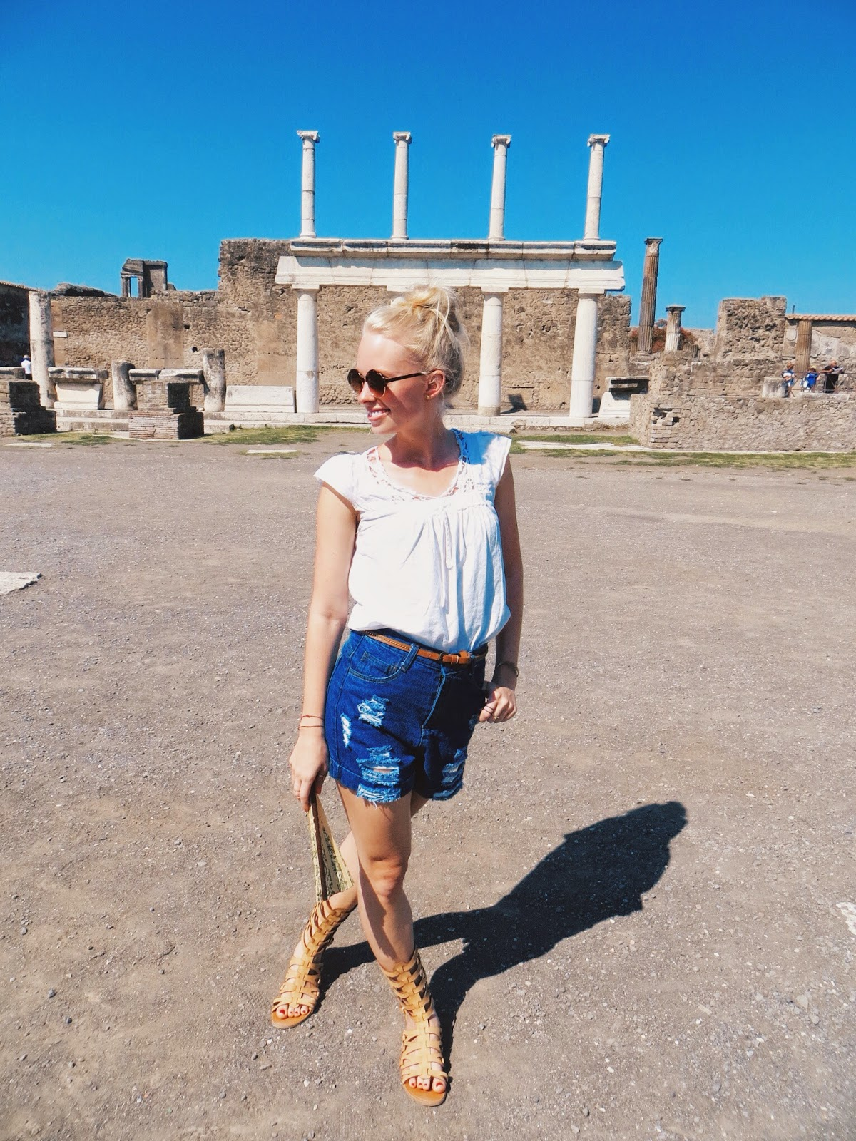 sammy dress destroyed high waisted shorts, zero uv steampunk sunglasses, deb shops gladiator sandals, pompeii, italy, summer vacation, naples, sorrento, mount vesuvius