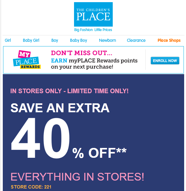 Today's top Children's Place coupon: Limited Time Offer: 60% Off Entire Site With NO Exclusions! Plus, Free Shipping With No Minimum!. Get 38 promo codes & printable .