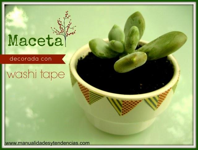 Tutorial maceta decorada con washi tape