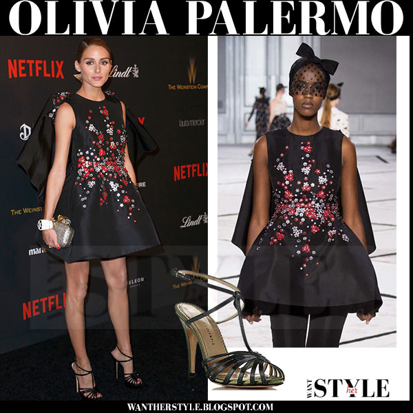 Olivia Palermo in black floral embellished mini dress giambattista valli couture red carpet what she wore