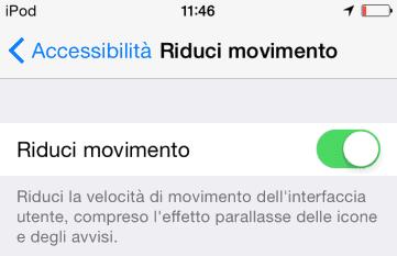Impostazione Riduci movimento su iOS