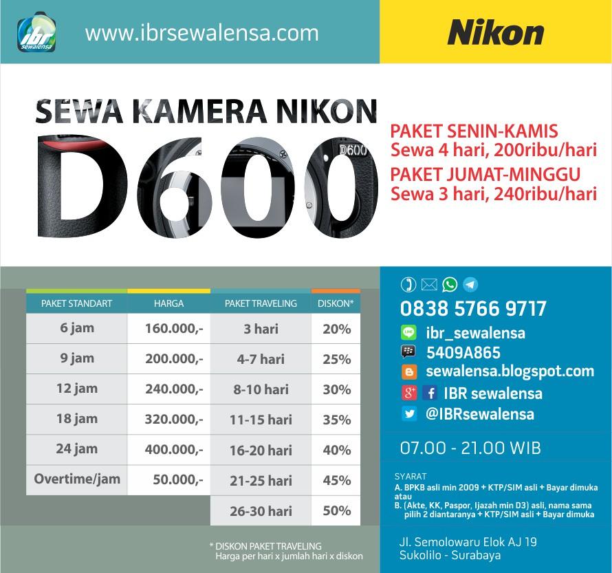 Harga Sewa kamera DSLR Nikon D600 Surabaya, Sewa kamera Jakarta, Sewa Kamera Jogja, Rental Kamera,