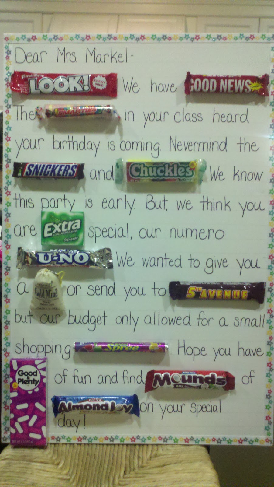 Tutor tubs teacher gifts birthdays if they invited my son to their birthday party would i make them a candy bar card too i had no idea this little project would make my son so popular bookmarktalkfo Images