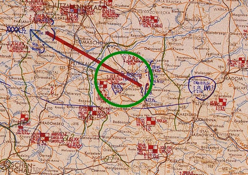 Mapka przebiegu działań wojennych w styczniu 1945. Źródło: National Archives and Records Administration (NARA) w USA, Lage Ost.