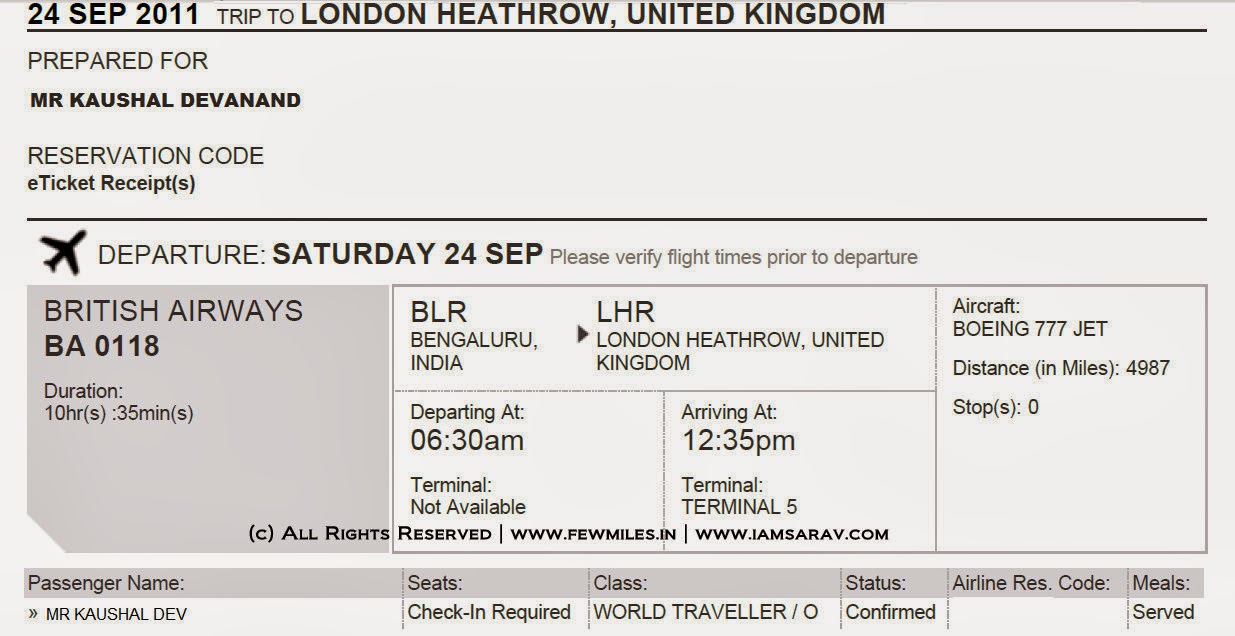 British Airways Ticket