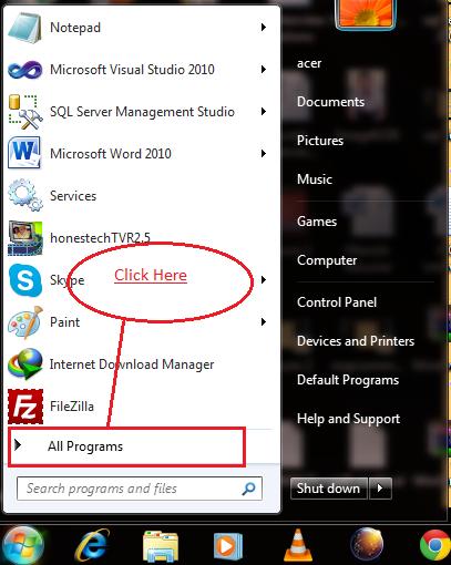 All programs in windows 7