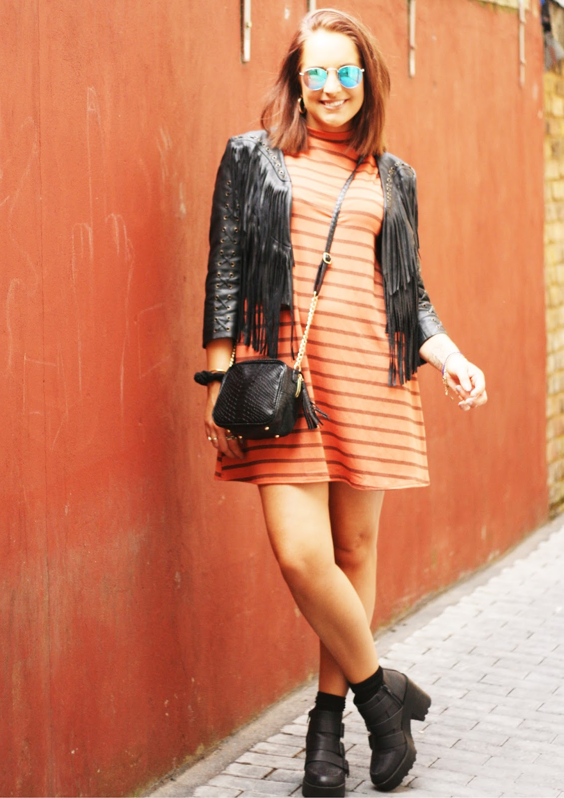 Striped swing dress from Boohoo