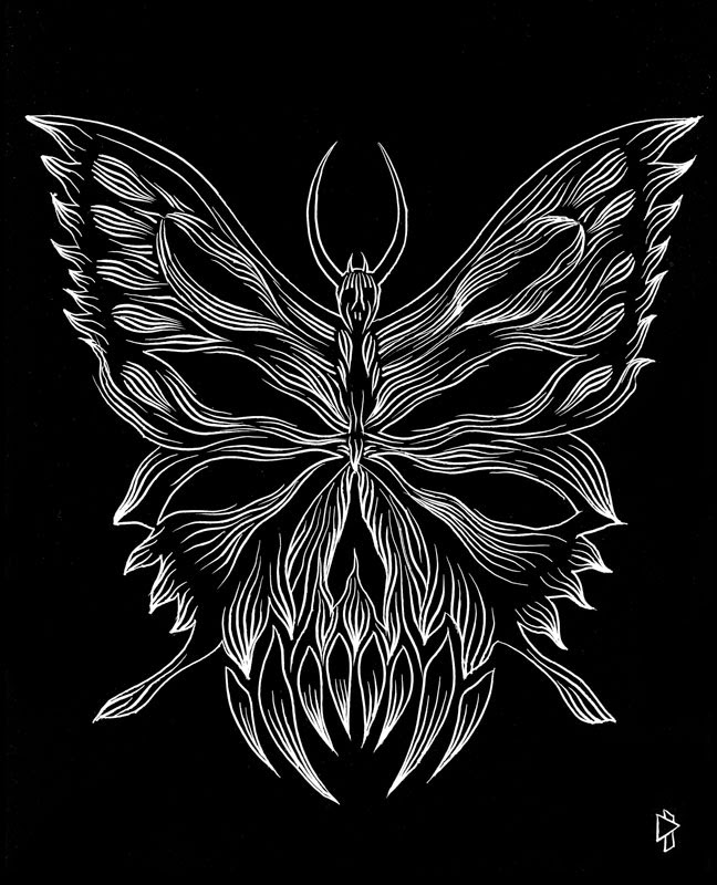 Butterfly teeth scratchboard