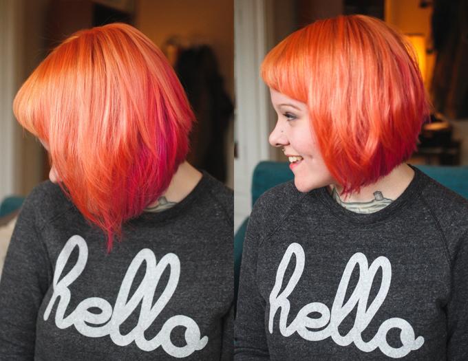 orange hair, pink hair, purple hair, short colorful hair