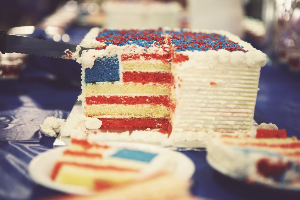 Hidden Flag Cake, courtesy Tanya Dennis and GourmetRecipe.com