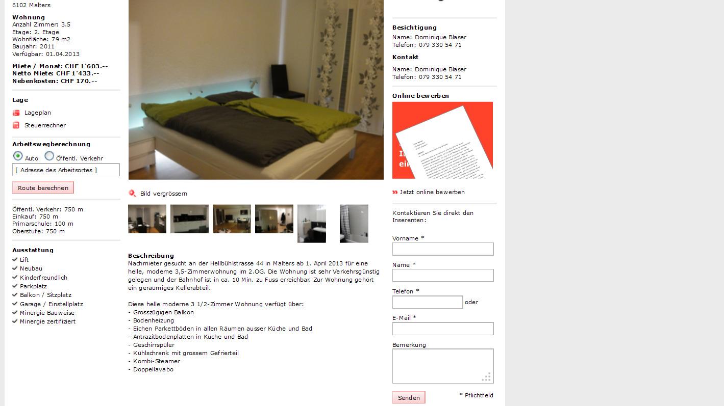 Guten Tag , Mein Name ist Esther Bauer, ich habe gerade eine Mail eines  Interessenten bezüglich meines. Wohnung mit 3,5 Zimmern, modern und hell.