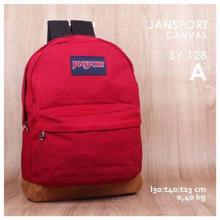 jual online tas jansport backpack kanvas polos kw super murah  warna merah