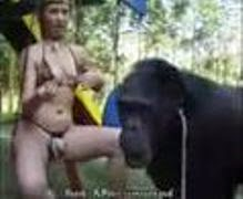Bokep Animal Blonde girl and monkey in the action