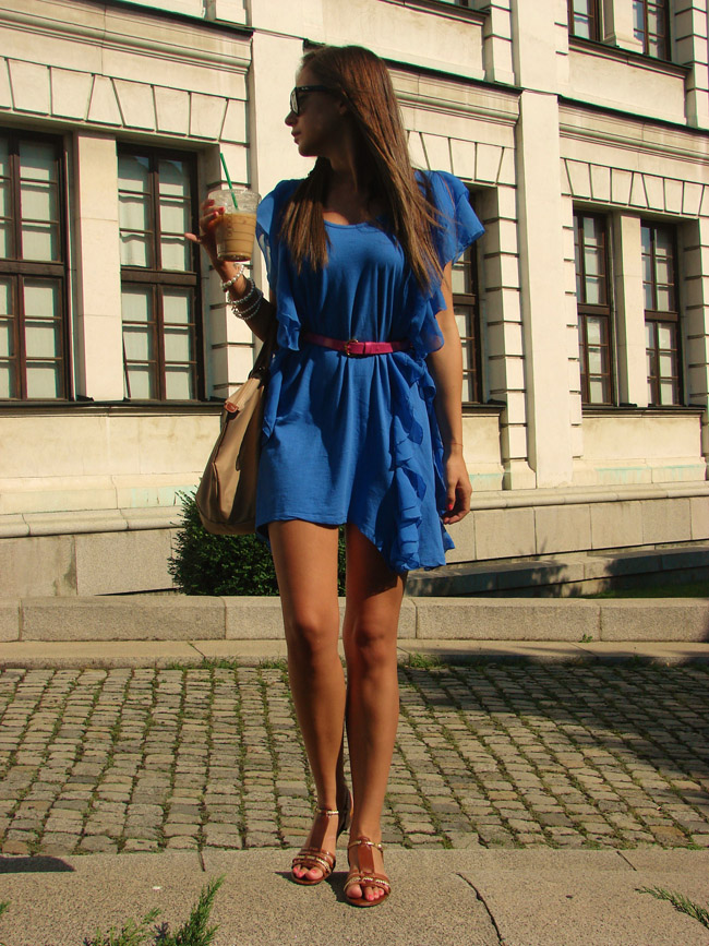h&m garden collection blue ruffle dress, ralph lauren brown gladiator sandals, hair braid, lauren conrad style braid blog, lauren conrad hairstyle, i heart maya, iheartmaya blog