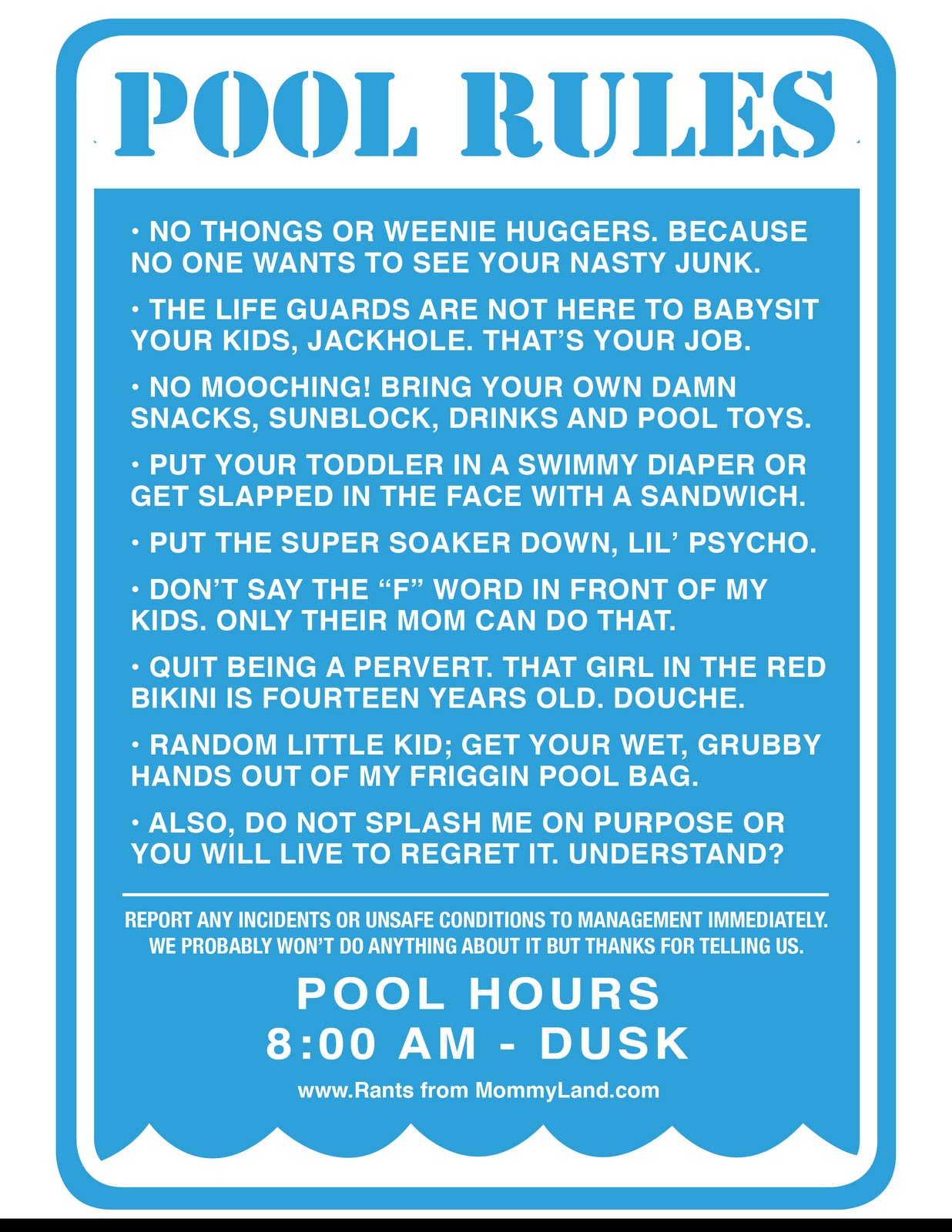 Rants From Mommyland Kate Lydia 39 S Pool Rules