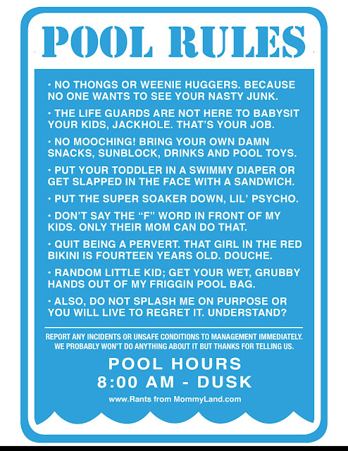 Rants from mommyland kate lydia 39 s pool rules - Swimming pool rules and regulations signs ...
