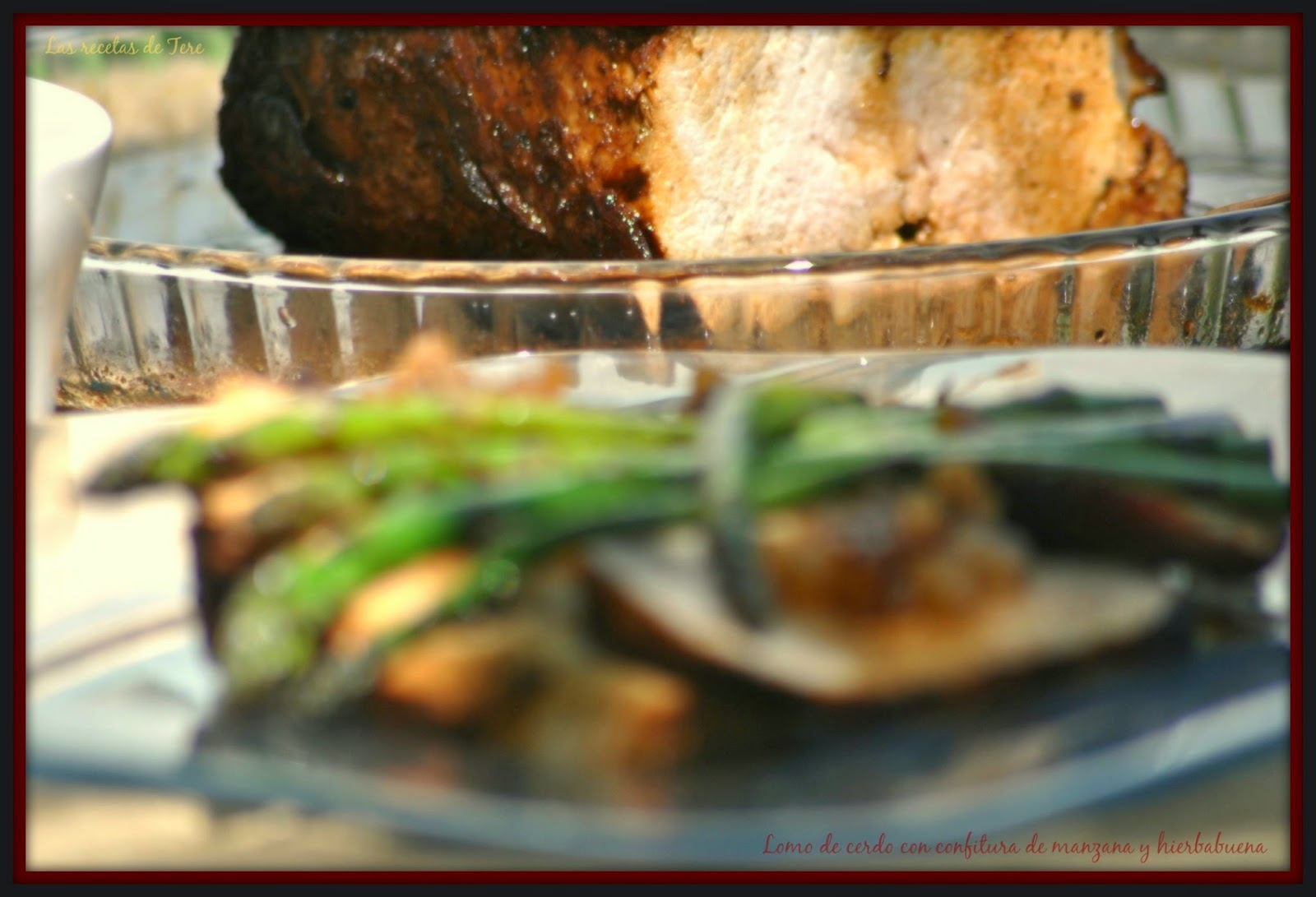 Lomo de cerdo al horno con confitura de manzana y hierbabuena 01