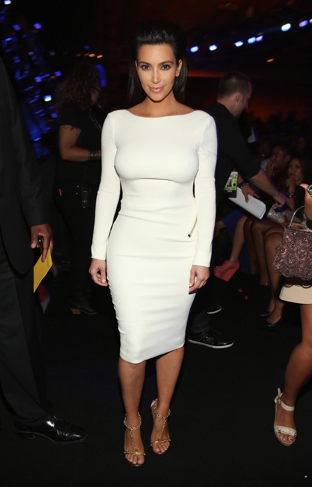 kim kardashian hot booty call in a white bareback dress in