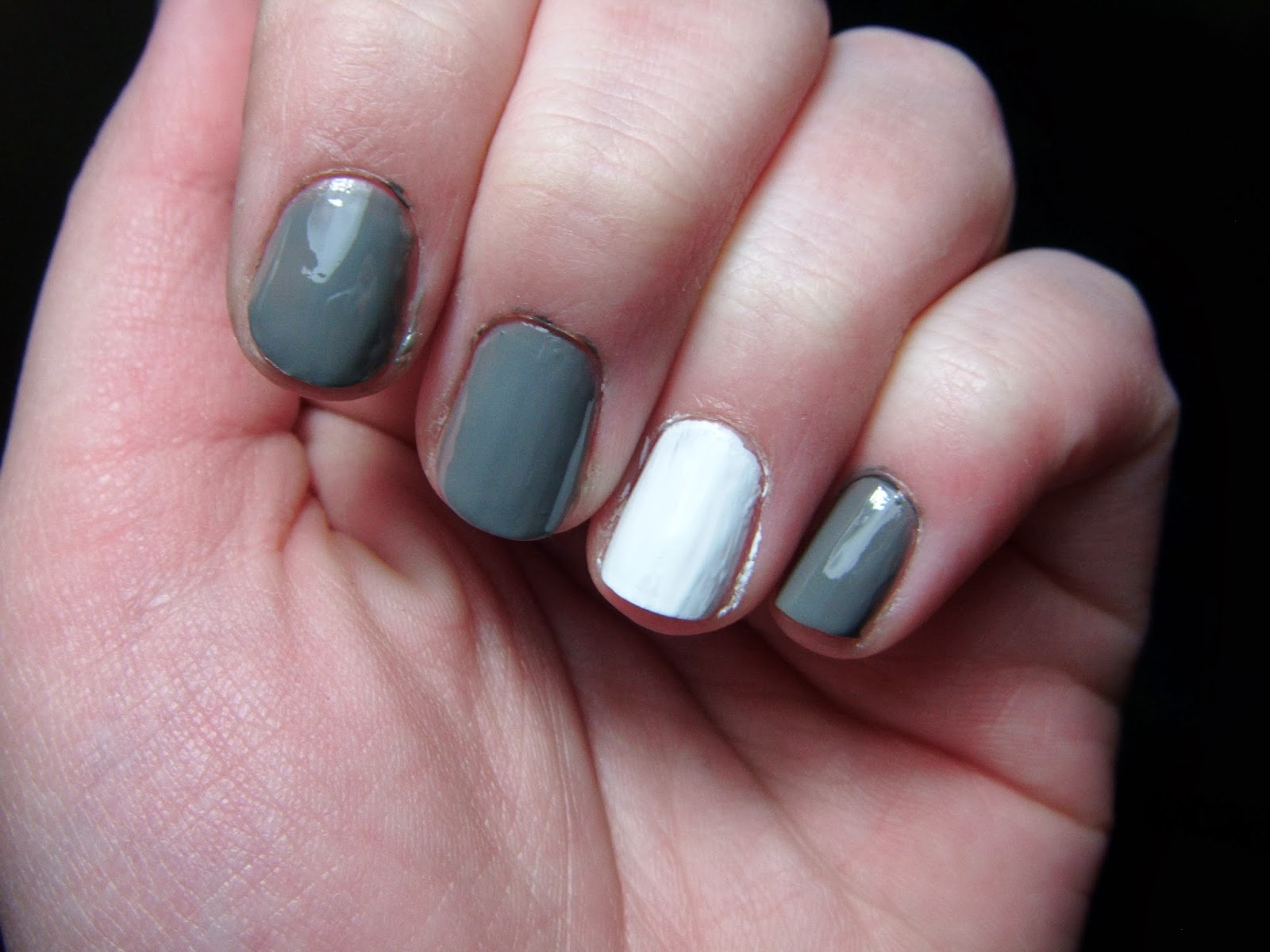Now Paint Your Ring Finger With The White Polish And Rest Grey You Can Use Whatever Colors Youd Like This Is Just How I Choose To Do