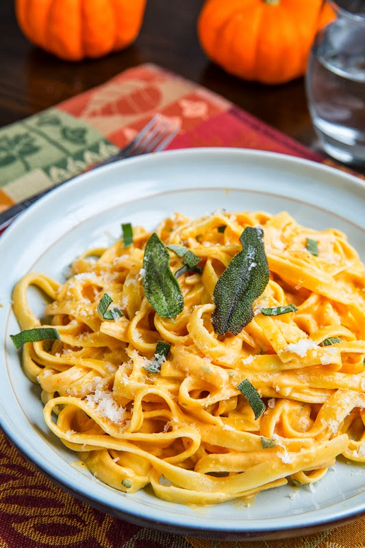 Pumpkin Goat Cheese Fettuccine Alfredo with Crispy Fried Sage on ...