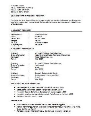 Resume bahasa melayu yang lengkap
