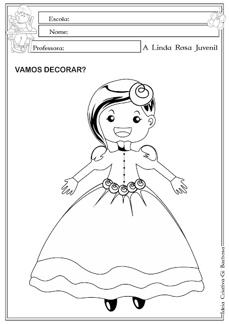 Atividade A Linda Rosa Juvenil para Colorir
