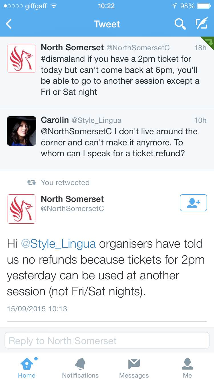 Dismaland no refunds for tickets
