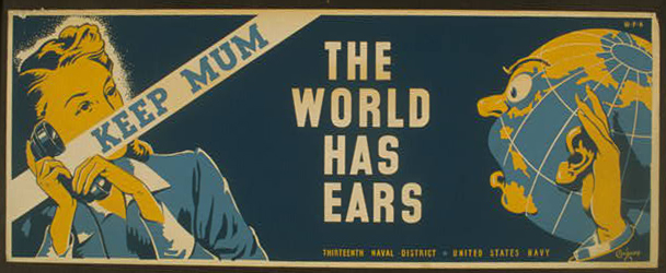 war, military, united states, navy, vintage, vintage posters, free download, retro prints, classic posters, graphic design, free download, Keep Mum, The World Has Ears - Vintage US Navy War Poster