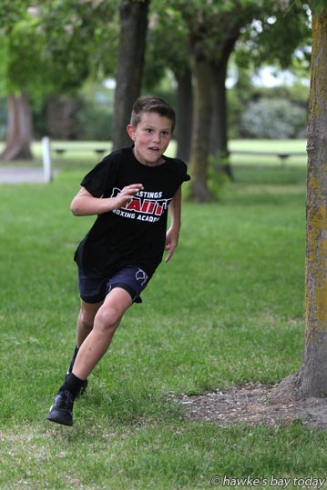 Hadley McDougall, 9, Hastings, the reigning Prince of Tainui in the Peak Trail Blazer race, out training for this year's race. photograph