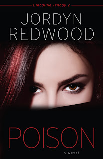 woman's face on cover of novel, poison