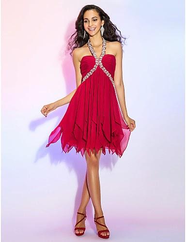 Vestido Coctail Mini Falda Rojo