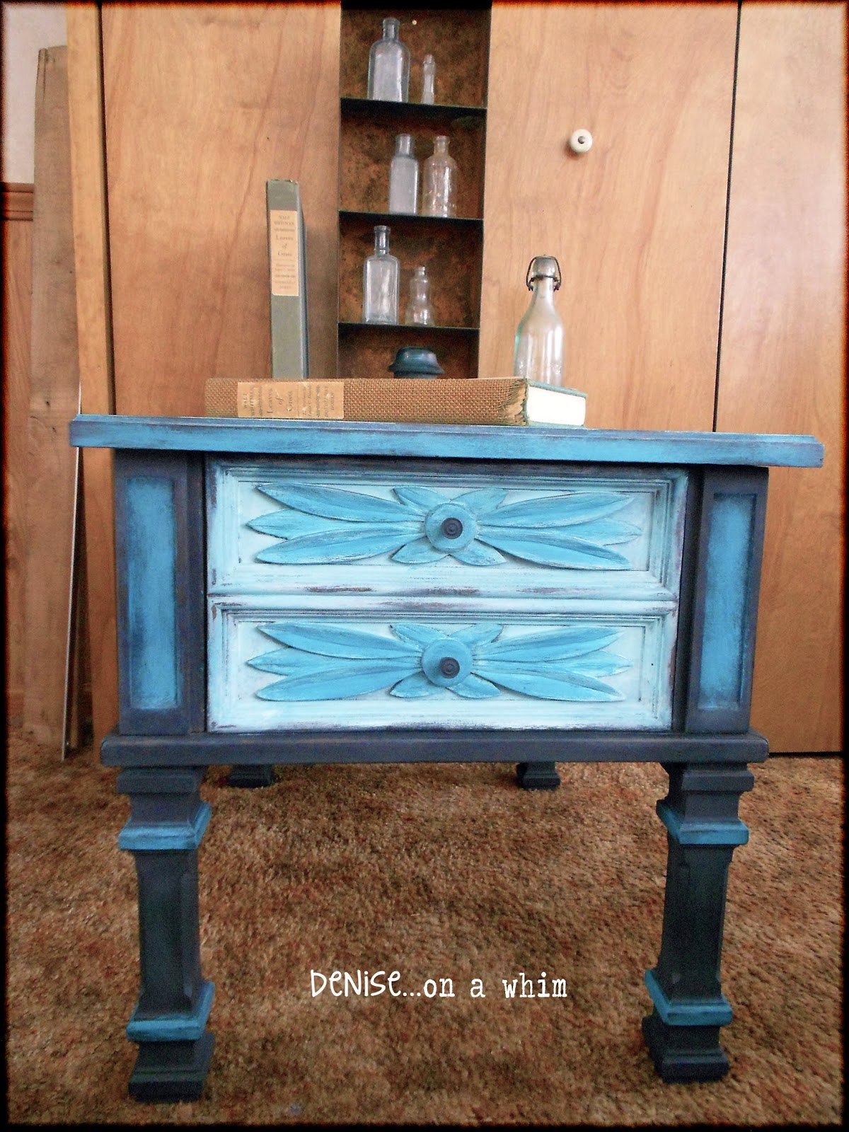 A beautiful end table transformation via http://deniseonawhim.blogspot.com