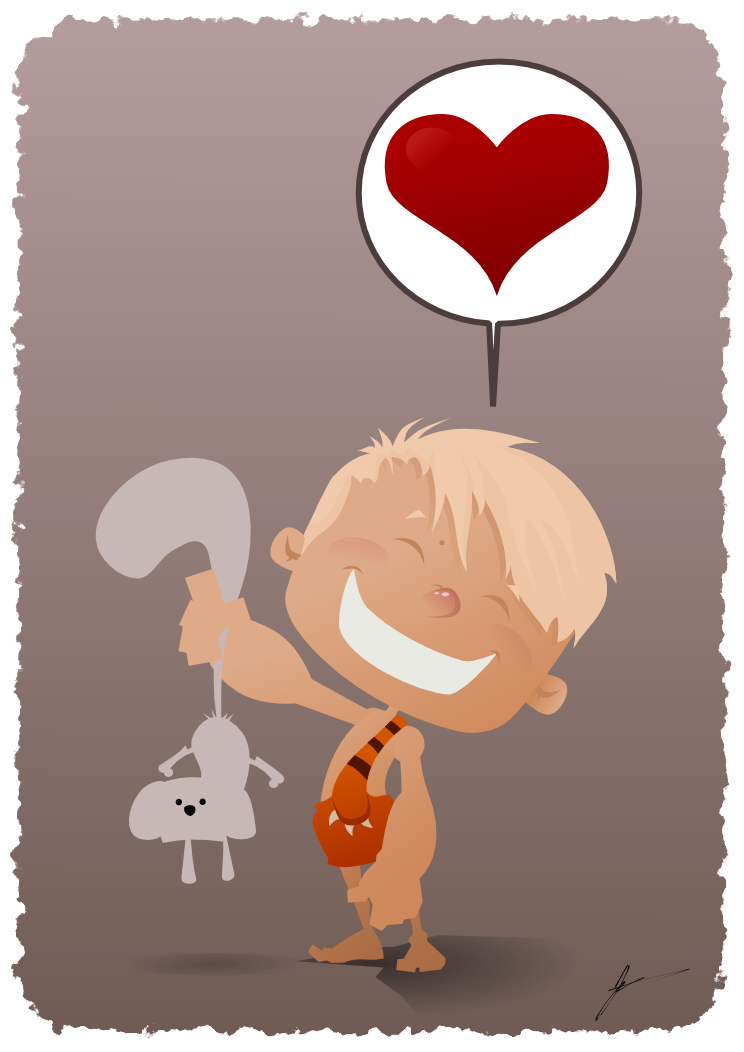 inkscape vector art cave boy kids illustration