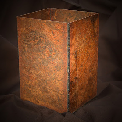 welded steel vase.aged rusty patina.raw steel.debra montgomery fine metal sculpture