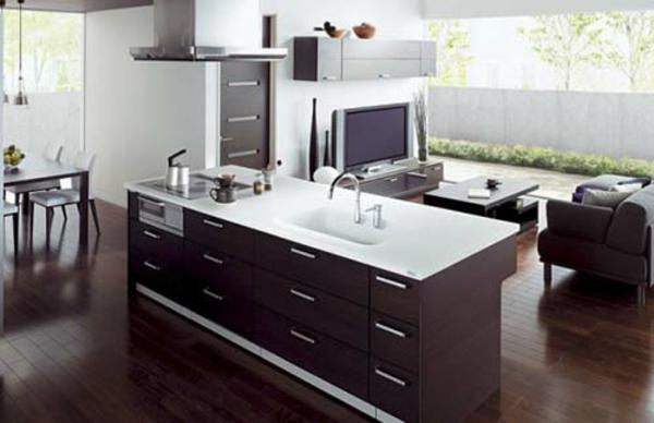 Fotos de cocinas integradas en el sal n ideas para for Cocina y lavanderia juntas