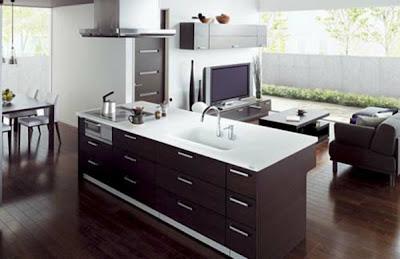 cocina y sala juntas