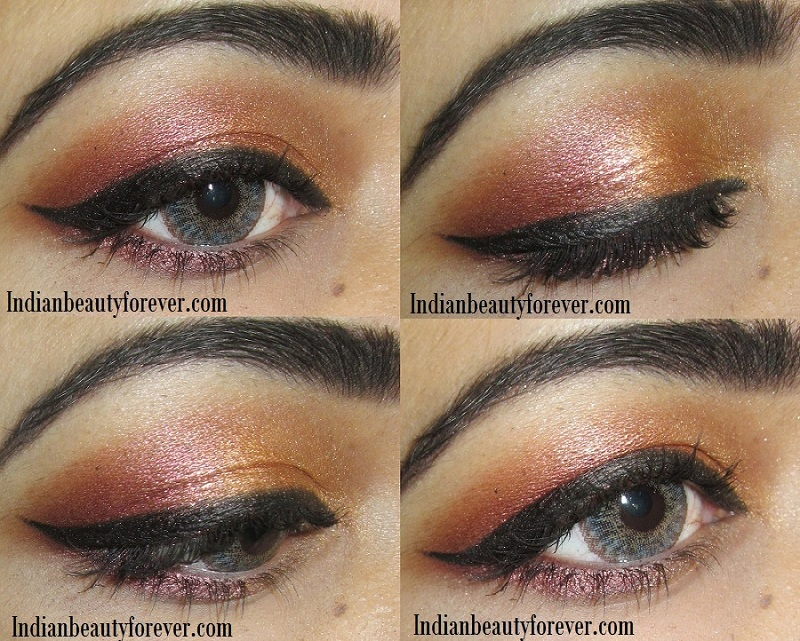 Coppery gold Eye makeup Tutorial , steps and ideas